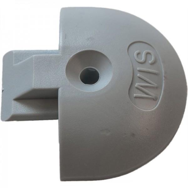 Endkappe/Airlineschiene, rund, Kunststoff, grau
