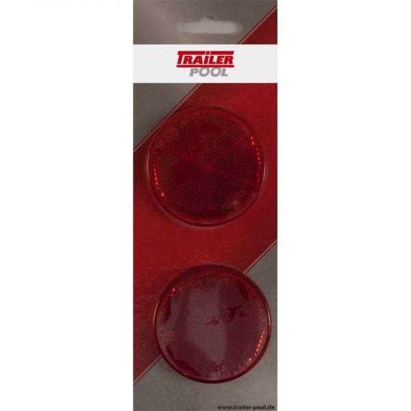 2 x Rückstrahler Ø 60 mm, rot, zum Kleben