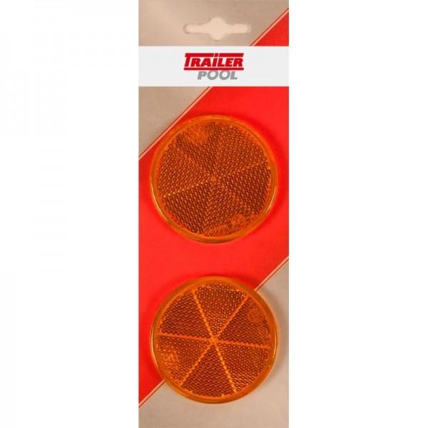 2 x Seitenrückstrahler Ø 60 mm, gelb, zum Kleben