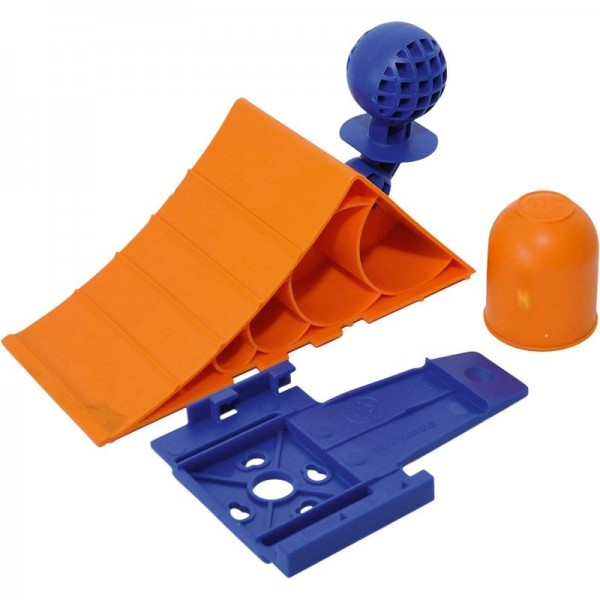 Unterlegkeil + Halter, Kunststoff, orange/blau