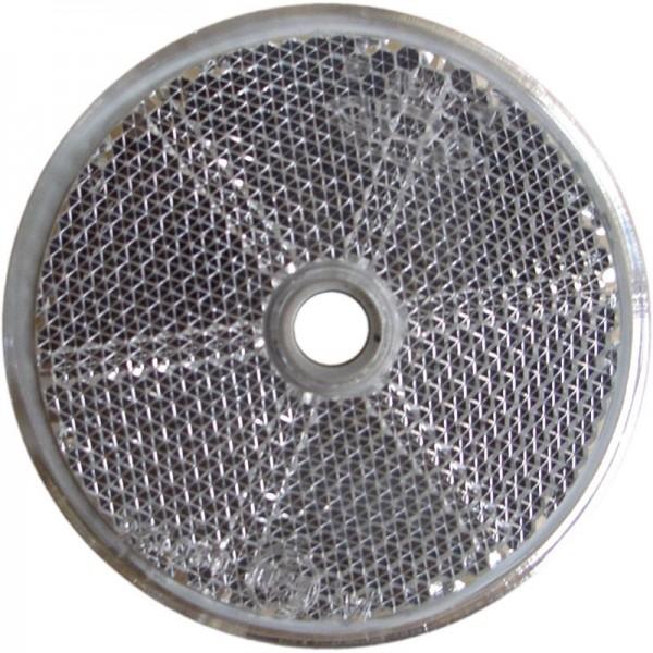 Rückstrahler Ø 60 mm, weiß, zum Schrauben